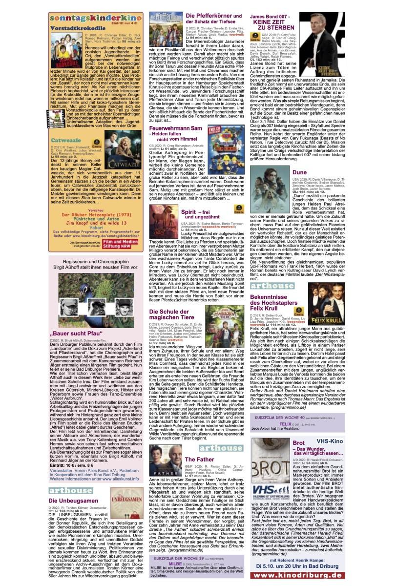 """Kinoprogramm im Kino Bad Driburg vom 30.09. - 13.10.2021 Der neue James Bond """"Keine Zeit zu sterben"""" und mehr"""