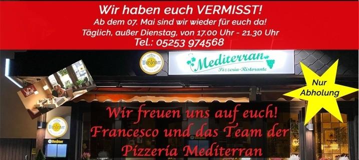 Ab dem 07. Mai ist das Team der Pizzeria Mediterran bei Franco wieder für euch da
