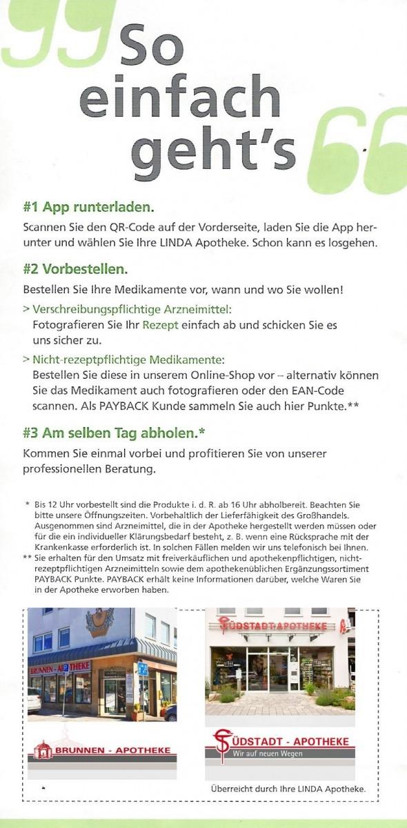 Flyer Linda Apotheken App Brunnen - Apotheke Südstadt - Apotheke 2